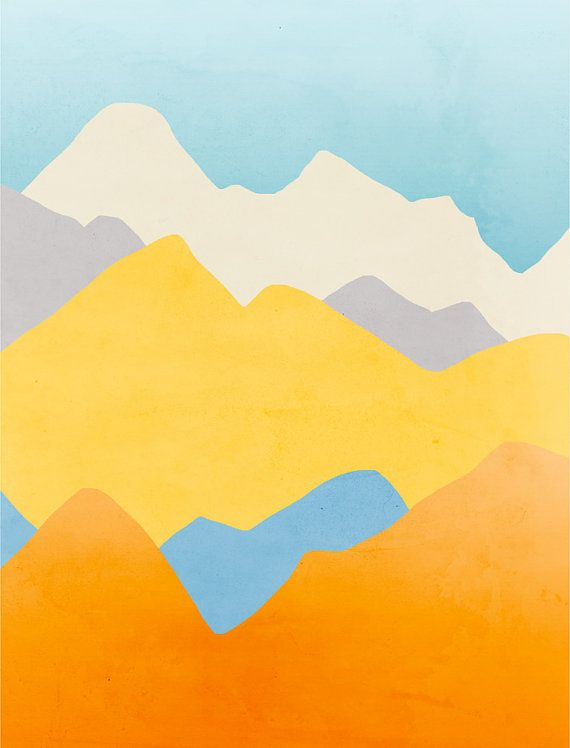 Modern wall art minimalist posters abstract landscape by for Minimal art landscape