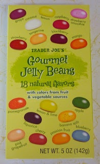 Trader Joe's Gourmet Jelly Beans (I love that there's no gelatin, artificial coloring or flavors in them.)