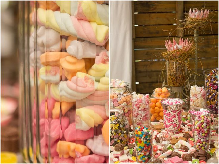 filling jars with sweets for the guest to eat when ever...  had a paper brown bag with different photo's of the couple, saying to eat desert first because life is uncertain