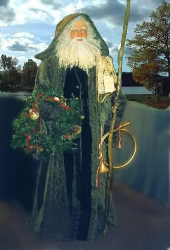 Prior to the circa 1880s or so, Santa Claus was Father Christmas, or the Spirit of Christmas, and wore green, not red as a resplendent and powerful force of nature.  You will see the real Old Father Christmas in any good version of Dicken's A Christmas Carol.