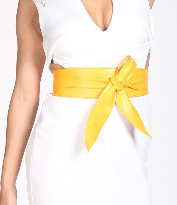 Yellow Belt tulip Tie Soft Leather Obi | Waist Obi Belt | Leather tie belt | Real Leather Belt | Plus size belts| Obi Sash Belts