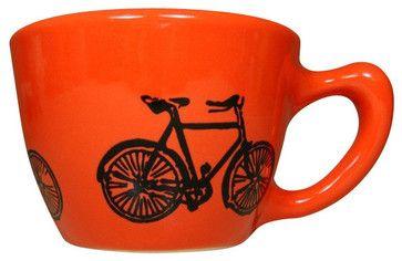 12oz Cup Dusty Road Bike - contemporary - Mugs - Circa Ceramics
