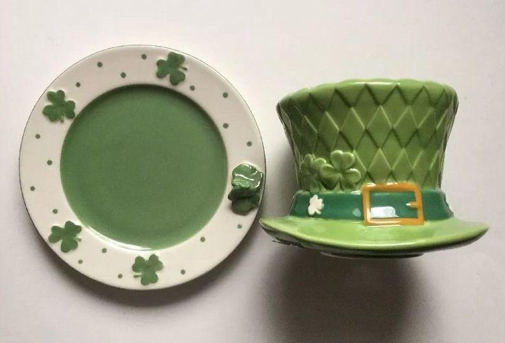 YANKEE CANDLE LUCK O' THE IRISH LEPRECHAUN HAT JAR CANDLE TOPPER SHADE & PLATE