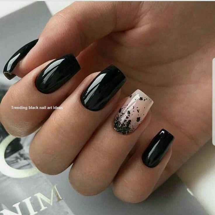 20 Simple Black Nail Art Design Ideas Naildesigns Matte Nails Design Black Nail Designs Square Nail Designs
