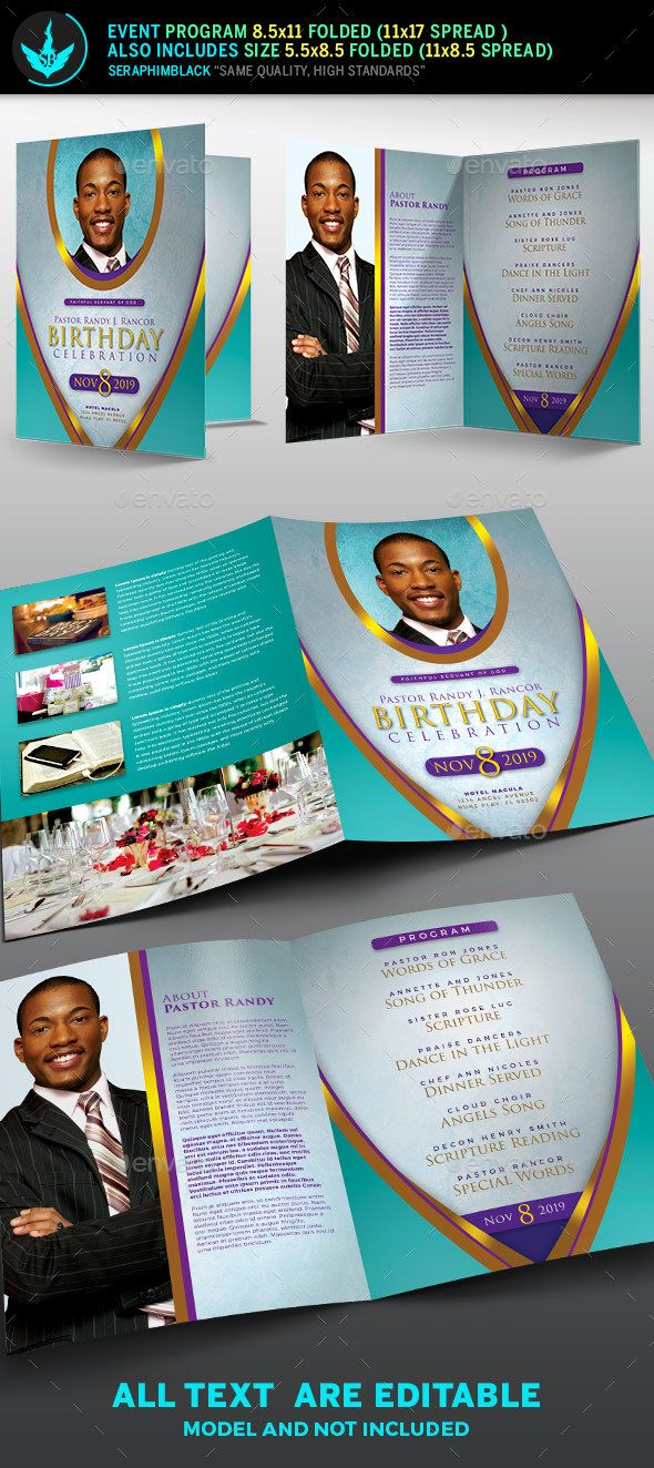 royal teal pastor birthday party program template informational