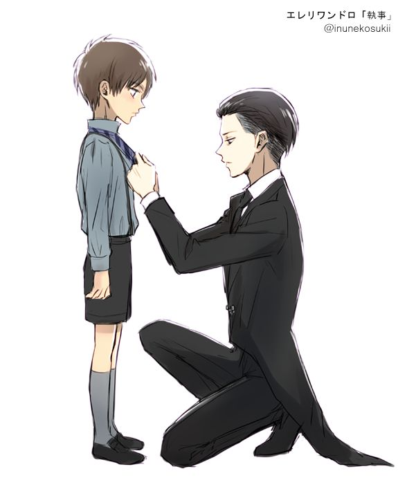 Headcanon: Levi is the son of the head butler at the Jaeger residence and is put in charge of little Eren, who admires the young man and can't wait to see him after his lessons. He likes playing with him and gives Levi the least trouble though he's boisterous and feels extremely happy when Levi smiles at him - because he does it so rarely.