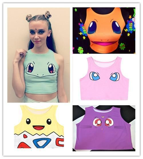 Women Girl's Sexy Cool Pokemon Pikachu Squirtle Sailor Moon Luna Tank Tee Top #Unbranded #Sexy #Clubwear