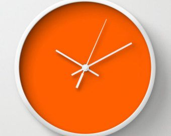 Vivid Orange Clock, #FF5F00, Orange Wall Clock, Orange Clock, Wall Clock, Modern Home Decor, Modern Clock, Modern Wall Clock