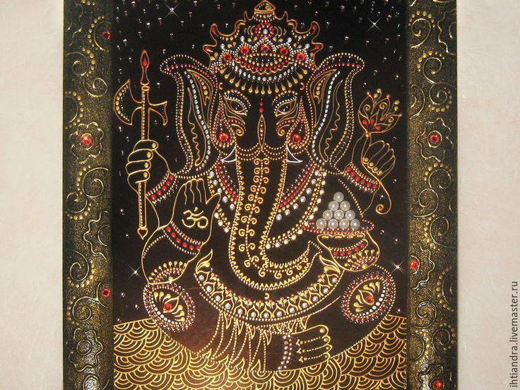 Купить Ганеша Роспись по стеклу - украшение интерьера, эксклюзивный подарок, подарок на любой случай