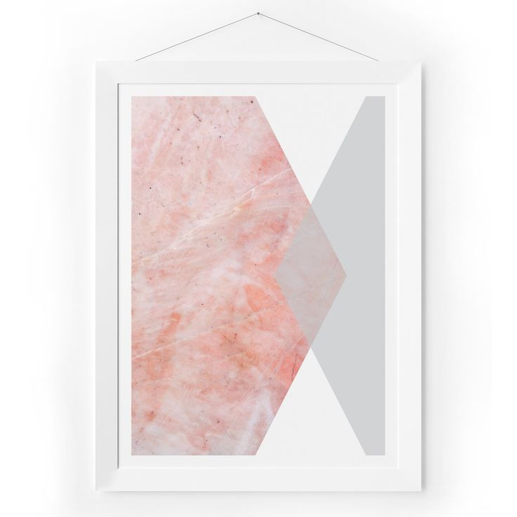 Pink Marble & Grey Hexagon Print