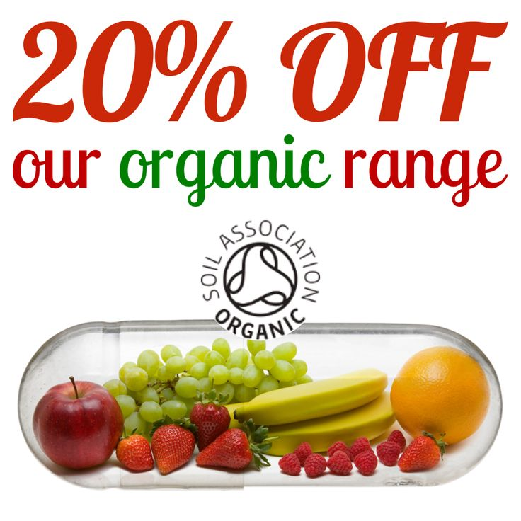 20% OFF ORGANIC HEALTH FOODS AND SUPPLEMENTS: Give your daily diet a boost with organic fruit and veg nutrients! 20% OFF our Organic range of health foods and supplements. Offer ends at midnight on Sunday, 3rd July - don't miss out!