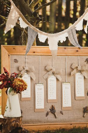For table assigning...DIY rustic table plan using burlap, hessian, jute and string feathers. Minus the feathers add some lace?