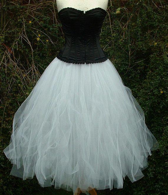 long white tutu skirt adult weddings goth dance by darkestdreams-$72.00