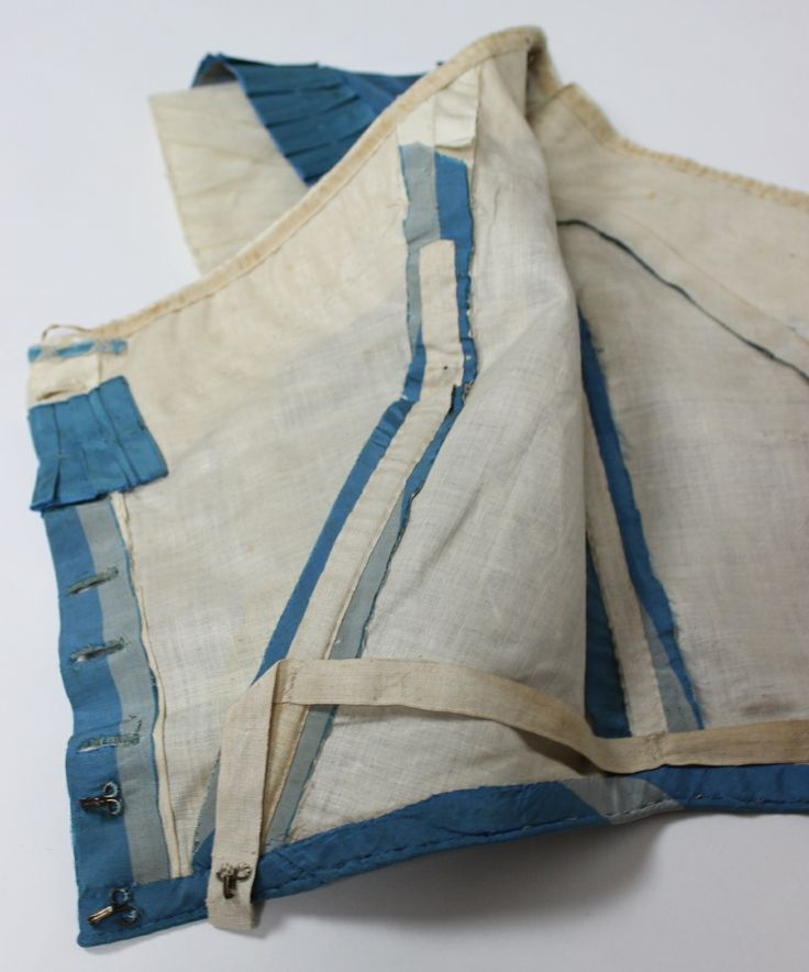 How to sew flat lining-Dress of French Blue with Wide Gray Stripes Silk Taffeta with Two Bodices C 1860, via eBay