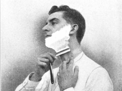 The classic straight razor shave.  Note the stretching of the skin while passing the razor over the neck.  This helps achieve the closest shave.