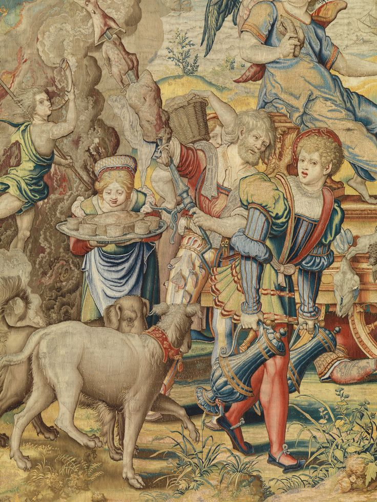 """Designed by Pieter Coecke van Aelst (Netherlandish, 1502–1550). Gluttony from the Seven Deadly Sins (detail), ca. 1532–34. Tapestry woven under the direction of Willem de Pannemaker, Brussels, before 1544. Patrimonio Nacional, Madrid (TA 22/3, A. 360-12154).   This work is featured in """"Grand Design: Pieter Coecke van Aelst and Renaissance Tapestry,"""" on view October 8, 2014–January 11, 2015. #Coecke #tapestrytuesday"""