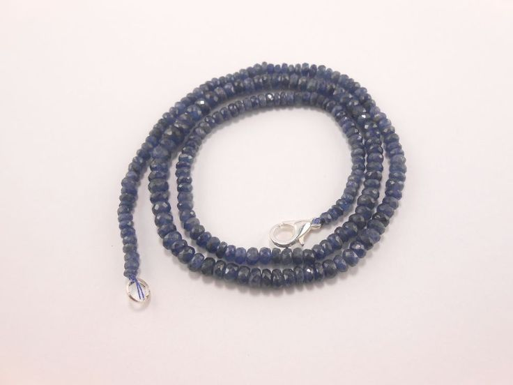 "Natural Burmese Blue Sapphire Faceted Rondelle Blue Beads Necklace 18"" GT-1906 #GemstoneTopper #Faceted"