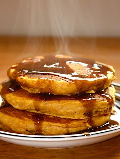 Pumpkin Pancakes with Cinnamon Syrup. Yummy fall recipes.