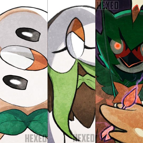 Rowlet, Dartrix and Decidueye