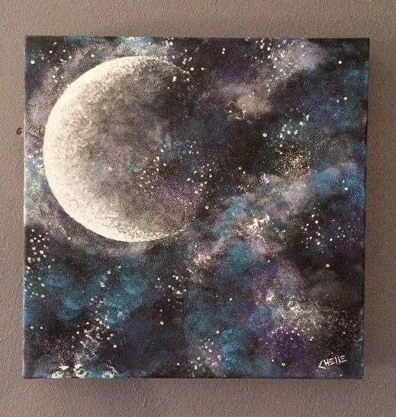 Original Acrylic Moon/Galaxy Painting on 12x12 Canvas