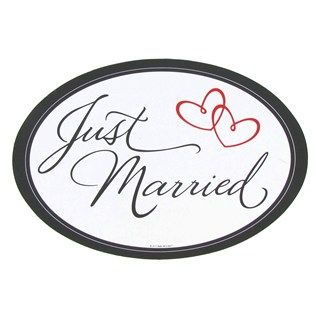 $2.49  Black, White & Red Just Married MAGNET for car