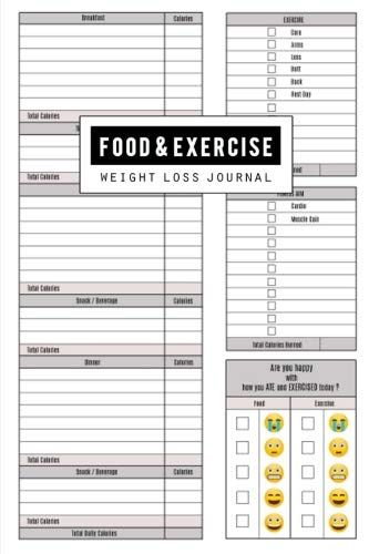 Food and Exercise Journal Fitness Planner, Workout Diet Diary