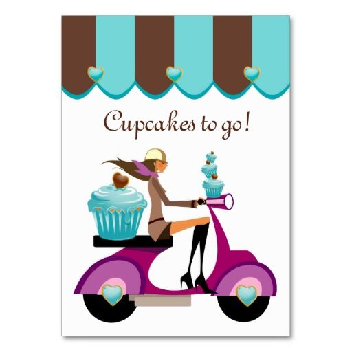 Cupcake Bakery Business Card Scooter Girl Canopy