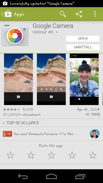 This app looks a bit different from the camera app that was included in Android 4.4 KitKat