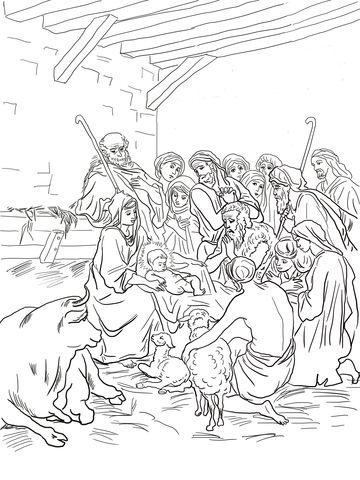 Cena do nascimento com a Sagrada Família, pastores e animais Página para colorir
