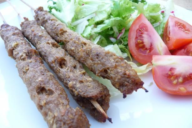Egyptian Beef Koftas (Ground Beef on Skewers) from Food.com:   								A yummy recipe that features finely ground beef cooked on skewers. You can have these on rice or pita bread with cucumber and tomatoes or any other way that sounds good! If you don't have all of the spices, you can do without. Enjoy!