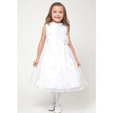 White Sleeveless Satin & Organza Dress with Flower at Waist