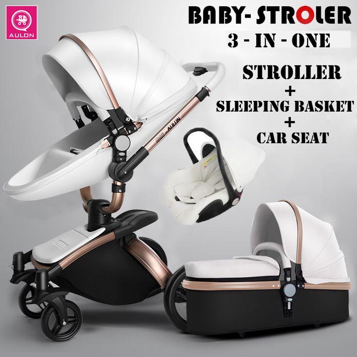 Transporte Moda Europeu de Couro luxuoso Do Bebê Carrinho De Criança Carrinho De Bebê Terno para Mentir e Assento