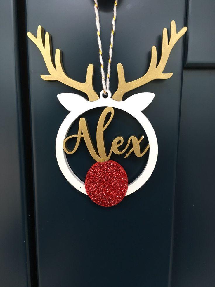 Personalised Christmas Name Reindeer Bauble Tree