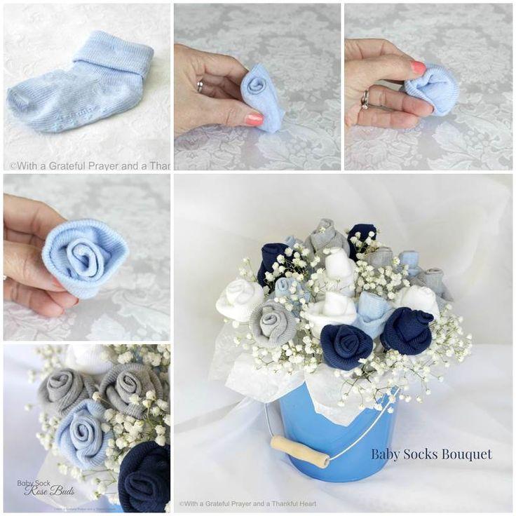 Wie Babysocken Blumenstrauß Daumen Stellen