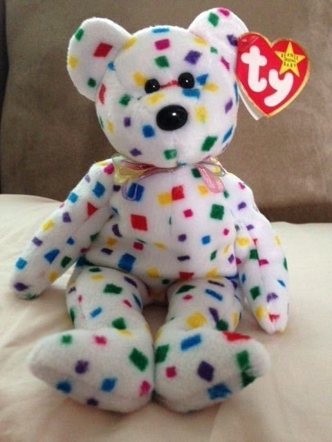 RARE! TY Beanie Babies 2K the Confetti Bear MWMTs! Retired!  Ty ... 051471a8af3c