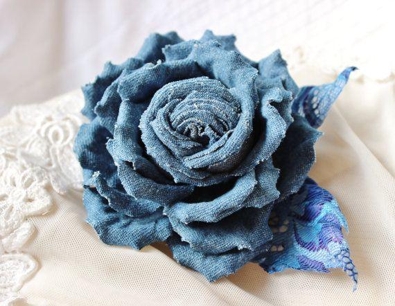 Cotton flower denim flower brooch denim by PresentPerfectStudio