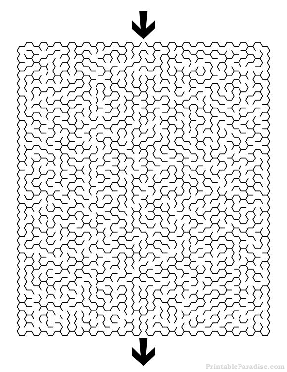 Printable Hexagon Maze - Difficult
