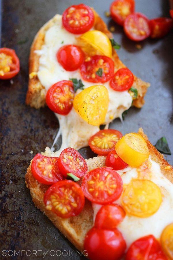 Tomato and mozzarella bruschetta.