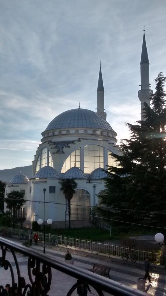 Sunset over mosque in Shkoder, Albania