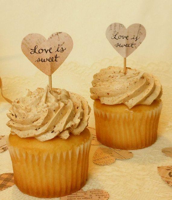 Love is Sweet Vintage Wedding Cupcake by HopeTillUrHeartHurts, $9.50