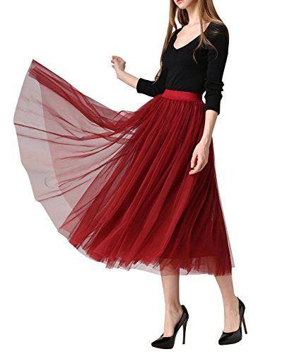 WEHOPS Vintage Women Midi Skirt Puffy Tutu A-line Skirts…