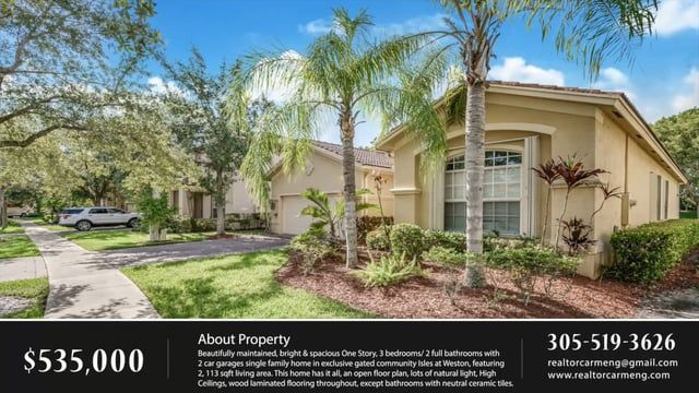 The Isles at Weston house for sale | 305.519.3626 Beautifully maintained, bright & spacious One Story, 3 bedrooms/ 2 full bathrooms with 2 car garages single family home