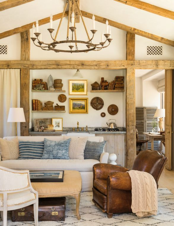 French farmhouse living room with wood beams