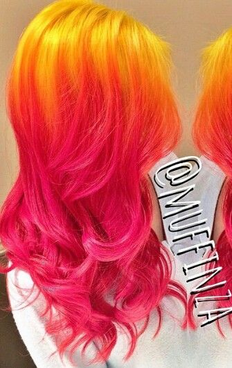 yellow pink ombre hair colorful