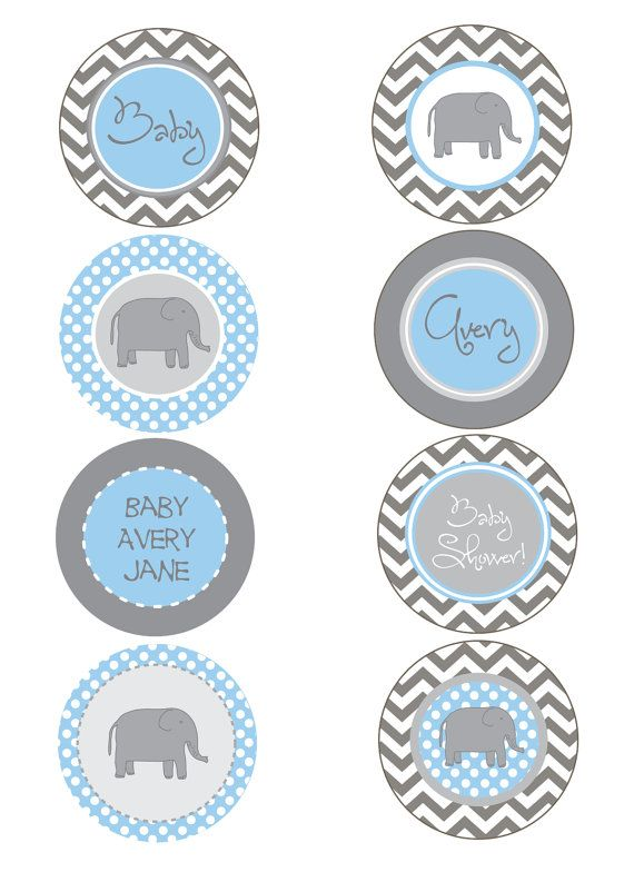 Pink & Gray Blue Chevron Elephant Baby Shower by PaperEtiquette, $15.00