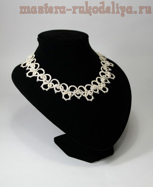 Схема фриволите, анкарс: Свадебные ожерелье и серьги Ольга