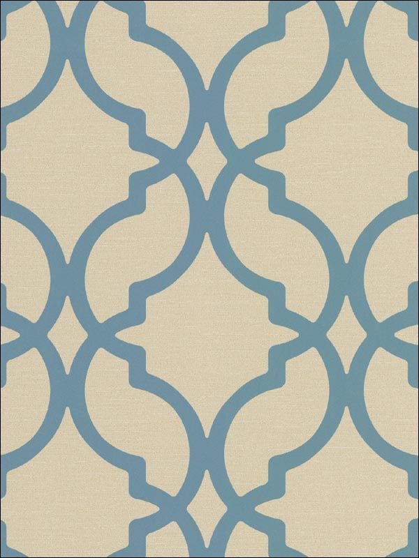 Moroccan Trellis Harira Blue Wallpaper Brand:Decorline Book:Decadence Item  #:WTG