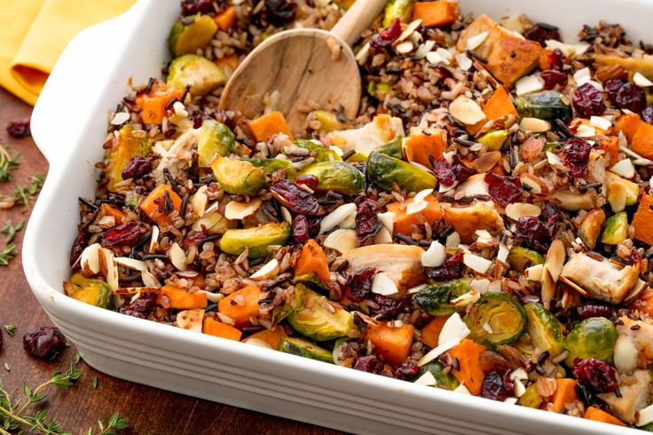 Healthy Chicken Casserole with sweet potato, brussels sprouts, and dried cranberries