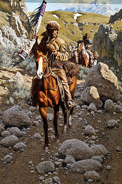 """John Colter crossed the Continental Divide, at either Union Pass or Togwotee Pass, in 1807, when he explored the region that was dubbed """"Colter's Hell"""" and became Yellowstone National Park. Crossing the Divide by Frank McCarthy (1924-2002), oil on canvas. – Courtesy Tim Peterson Family Collection, Scottsdale's Museum of the West –"""