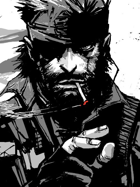 He's got the eye patch over his right eye. That means he's Big Boss. But he's smoking a cig. That means he's Solid Snake. Two in one Snake art!